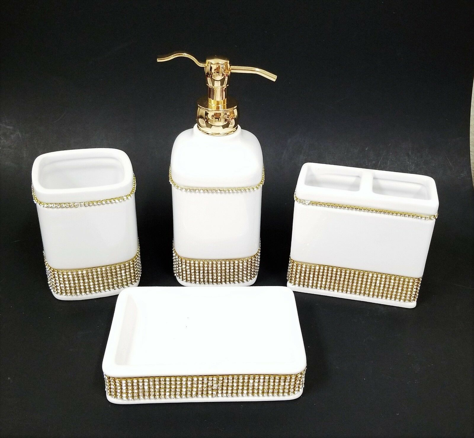 NEW 4 PC SET Weiß CERAMIC+Gold CRYSTALS DISPENSER+DISH+TUMBLER+TOOTHBRUSH HOLDE