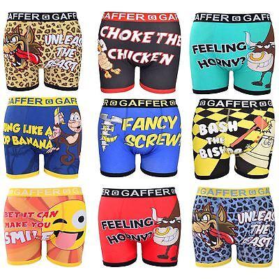 Gaffer Mens Designer Rude Novelty Boxer Shorts Boys Funny Trunks Gift Underwear SchöN Und Charmant