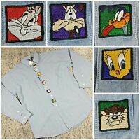 Vtg Warner Brothers Studio Looney Tunes Embroidered Denim Ls Button Down M