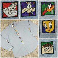 Vtg Warner Brothers Studio Looney Tunes Embroidered Denim Ls Button Down M