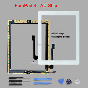 For-iPad-4-White-Touch-Screen-Glass-Digitizer-Replacement-IC-Chip-amp-Home-Button