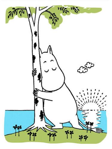 Moomin Letterpressed Greeting Card Moomintroll Hugging the Birch Tree