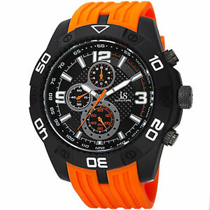 Men-039-s-Joshua-amp-Sons-JS92OR-Quartz-Chronograph-Tachymeter-Orange-Silicone-Watch