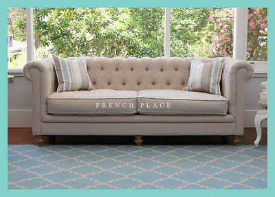 French Oned Linen Chesterfield Sofa