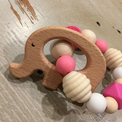 Maple//Beech Natural Untreated Wood Sensory Animal Teether BPA Free Silicone