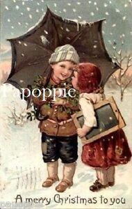 Vintage-Christmas-Fabric-Block-Vintage-Postcard-Umbrella-Victorian