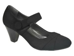 ANNABELLE-Womens-Black-Faux-Suede-Formal-Mid-Heel-Mary-Jane-Shoes-UK-Sizes-4-7