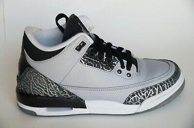 Nike Air Jordan 3 Retro BG Black Wolf Grey Metallic Silber 5y 37.5 EU 398614 004   eBay