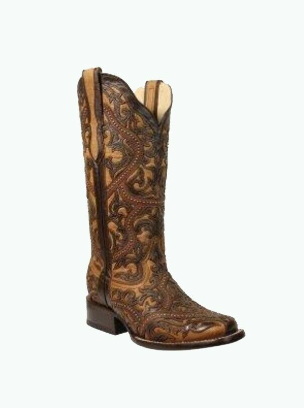 Corral Women's Full Overlay Studded Cowboy Western Boots Brown G1330