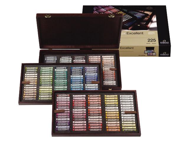 Rembrandt Artists Soft Pastels - Full Size Pastel - Wooden Box Set 225 Assorted
