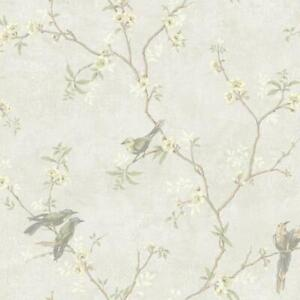 Wallpaper Traditional Floral Vine with Cute Birds on Pearlized Silver Background