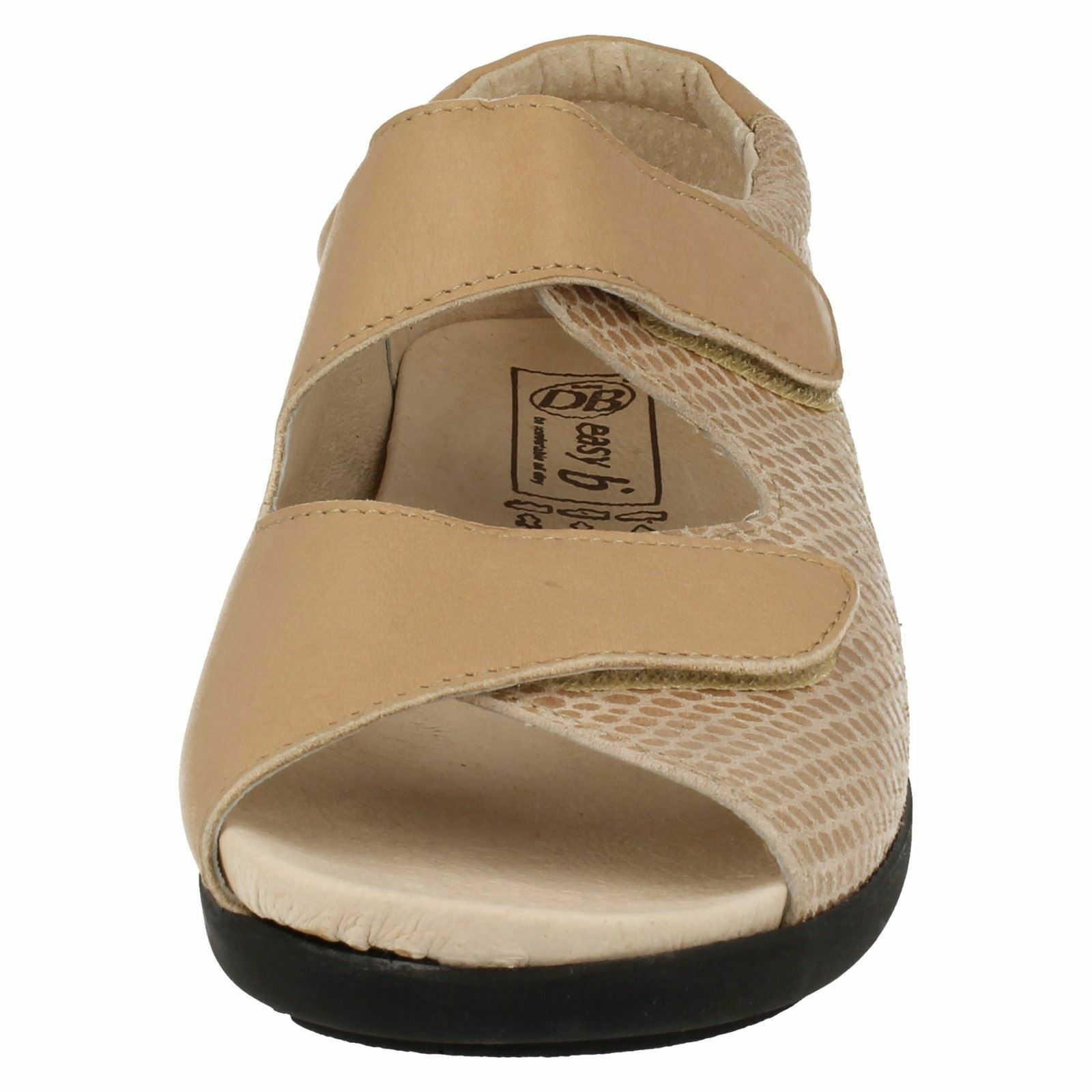 BLISS LADIES EASY B TOE DB OPEN TOE B FLAT CASUAL LEATHER RIPTAPE STRAP SUMMER SANDALS 44e769
