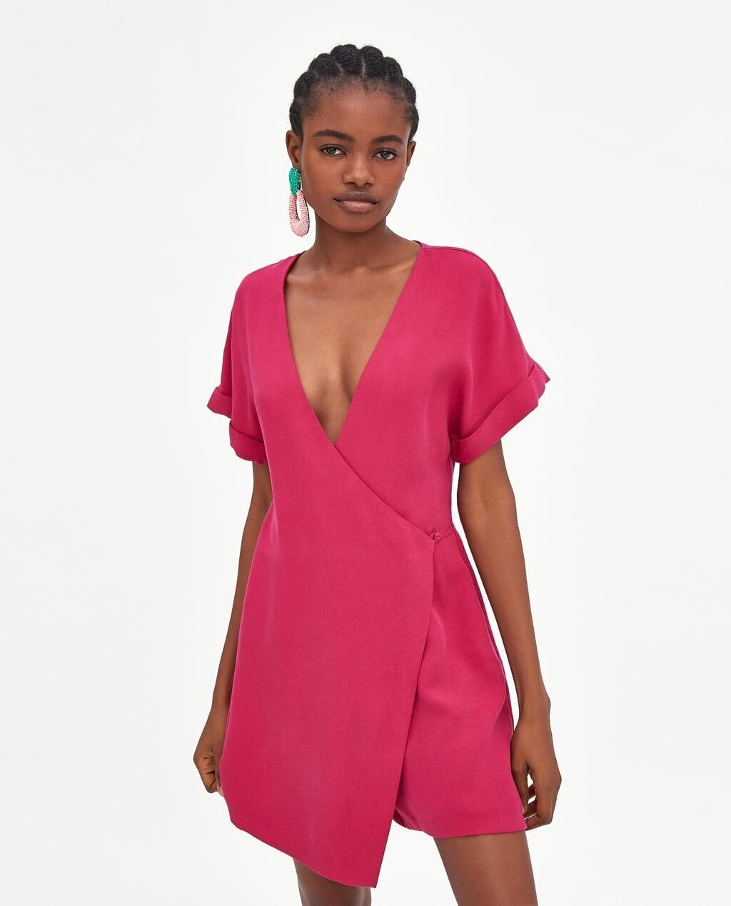ZARA Join Life Fuchsia Credver Playsuit Jumpsuit Dress S