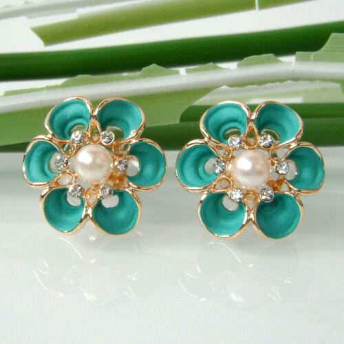 Navachi Flower Blue Green Enamel Pearl 18K GP Crystal Ear Stud Earrings BH2066