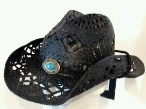NEW-PETER-GRIMM-BLACK-RAPHIA-DRIFTER-WITH-A-TWIST-CHIN-CORDED-COWBOY-HAT