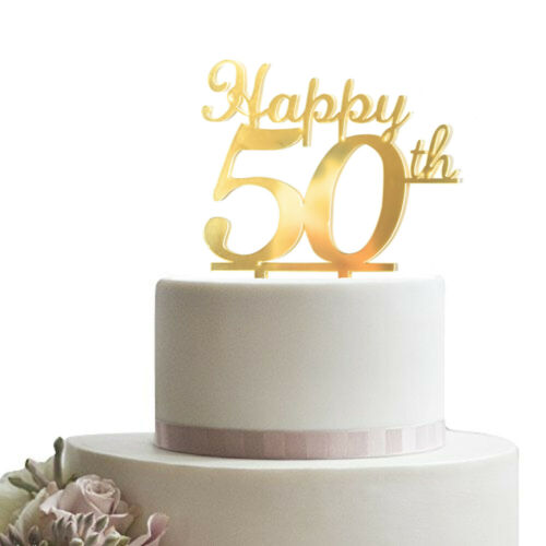 Happy 50th Gold Cake Topper