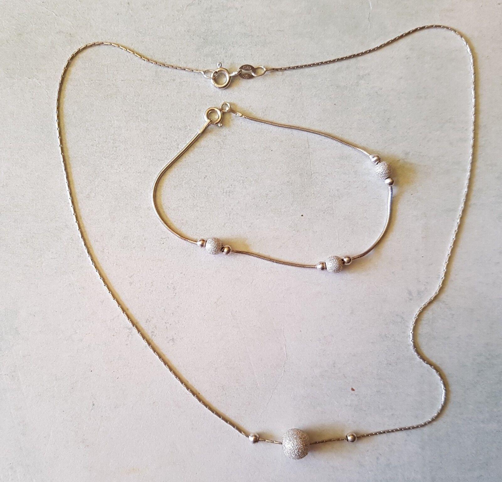 Ensembre collier et bracelet assortis en silver massif (Ref. 347)