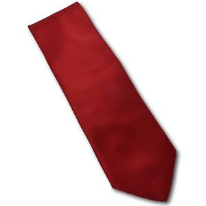BRIONI-Solid-Red-Satin-Finish-Silk-Tie-3-3-8-034-Width-Italy
