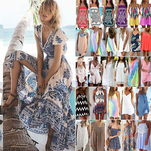 Women-Summer-Holiday-Beach-Bikini-Cover-Up-Boho-Casual-Sun-Mini-Dress-Sundress
