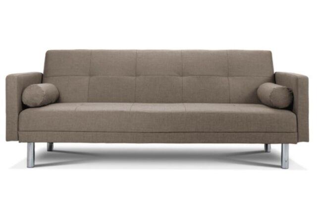 Monroe 3 Seater Sofa Bed Brown Putty Fabric Settee Clic Clac Bolster Cushion