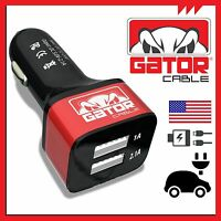Universal Dual 2 Port Usb Car Charger Adapter Fast Charging Metal Gator Cable