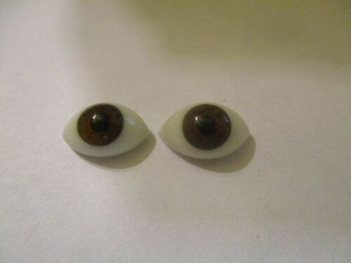 12 mm Vintage Brown Oval Hollow Glass Eyes Blown Glass Eyes 6 mm Iris  SE12BRN