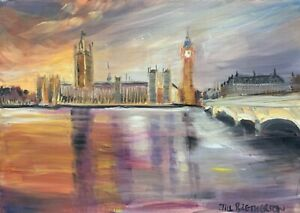 Print-of-Original-oil-painting-art-Westminster-London-impressionism-shabby-chic