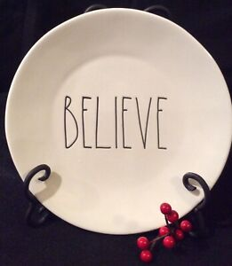 Rae-Dunn-Christmas-BELIEVE-Plates-8-034-LL-Set-Of-4-NEW