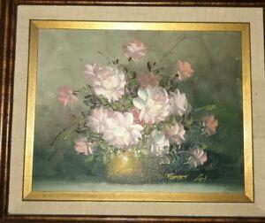"A Vase of Roses Floral Still Life by Artist /""ROBERT COX/"" Original Oil"