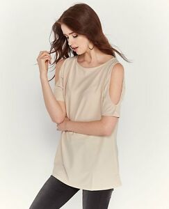 Women-039-s-Tunic-Cold-Shoulder-Cut-Out-Keyhole-Sleeve-Stylish-Casual-New-Beige-Top