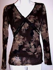"Axcess Top M L Brown Floral Stretch Knit Casual Layered Nylon Shirt Bust-38""-40"""