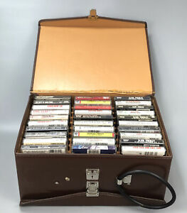 Lot of 61 Misc Cassette Tapes w Case Carrier Elvis Michael Jackson Commodores AA