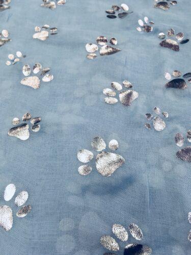 Cat Baby Blue Paw Print Ladies Scarf Metalic Glitter Silver Foil Print  Dog