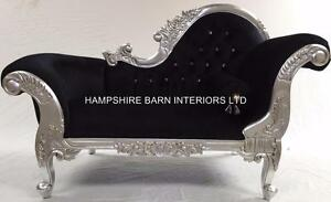 Image is loading SMALL-FRENCH-CHAISE-LONGUE-SILVER-LEAF-BLACK-VELVET- : french chaise lounge - Sectionals, Sofas & Couches