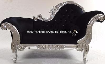 Small French Chaise Longue Silver Leaf Black Velvet Crystal Sofa Lounge Bedroom Ebay
