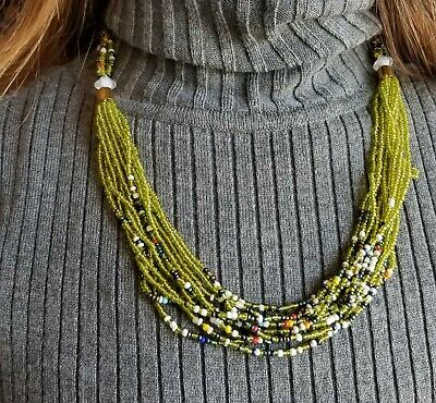 yellow beaded necklace for her 3 strands jewelry necklace Zulu beads necklace maasai beaded necklace