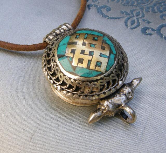 Tolles Tibet AMULETT GAU GHAU aus NEPAL Türkis Endloser Knoten für endlose Liebe