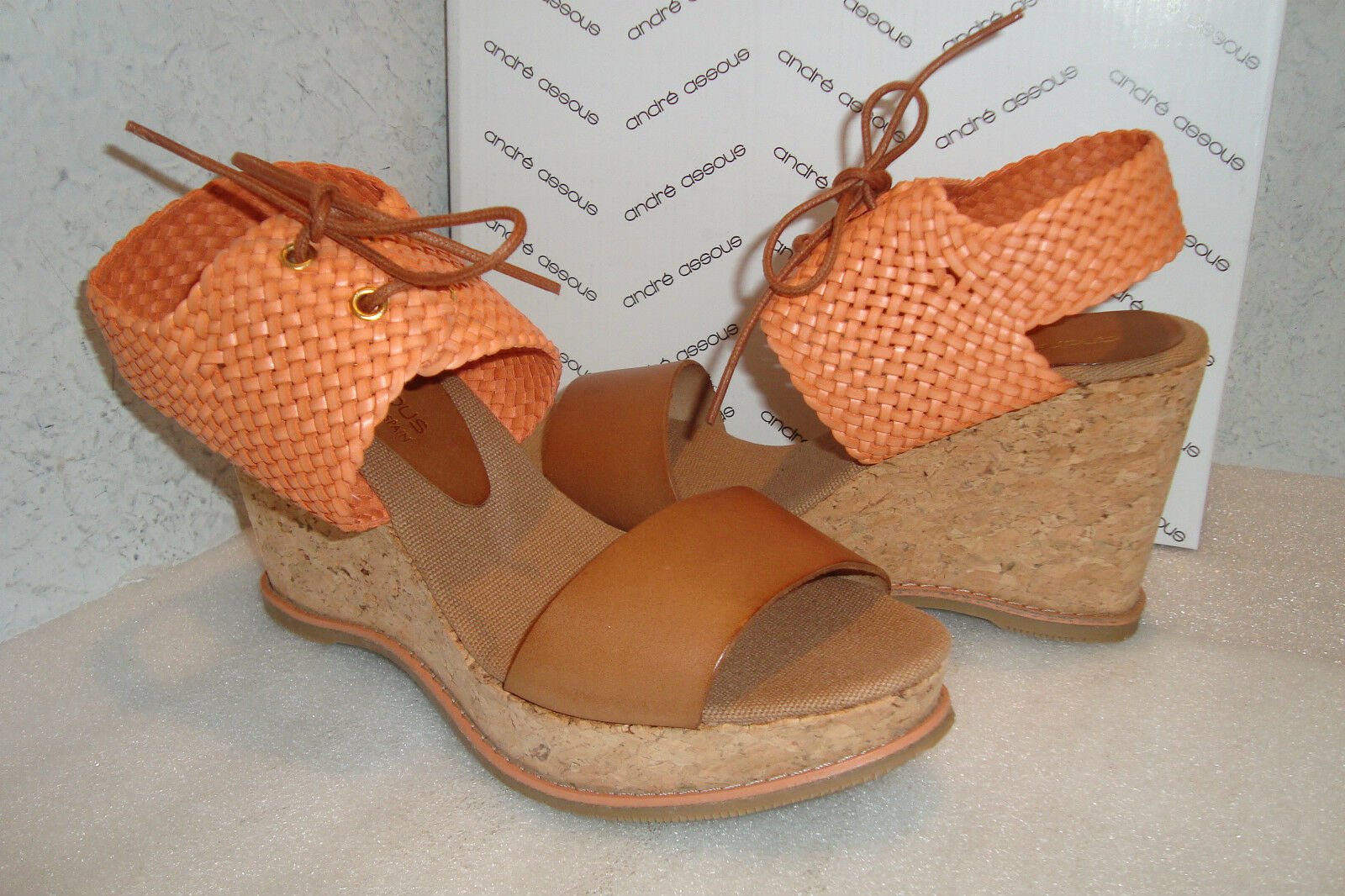 Andre Assous Womens NWB Julian Coral Wedge Sandals shoes 7 MED NEW