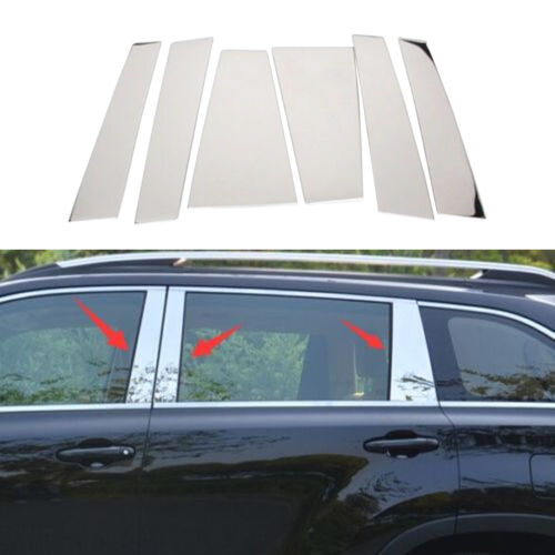 Stainless Steel Window B Pillar C Pillar Cover Trim fits Toyota Highlander 2014+