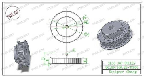 XL Type XL30T Aluminum Timing Belt Pulley 30 Teeth 6.35mm Bore for Stepper Motor