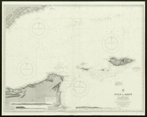 Details about Gulf of Aden. Yemen Somalia Socotra. Admiralty nautical sea  chart 1929 old map