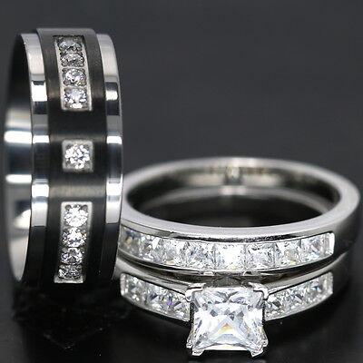 3 PCS HIS AND HERS TITANIUM 925 STERLING SILVER PRINCESS WEDDING BRIDAL RING SET