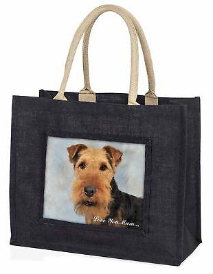 Walisisch Terrier Hund' Liebe, die sie Mama' große schwarze Einkaufstasche