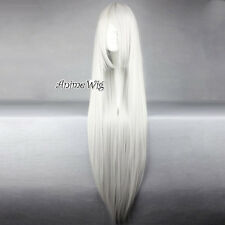 100CM Women Basic Style Silver White Long Straight Hair Cosplay Wig Synthetic