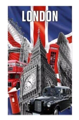 Capital london thé serviette union jack big ben noir taxi rouge bus uk souvenir cadeau