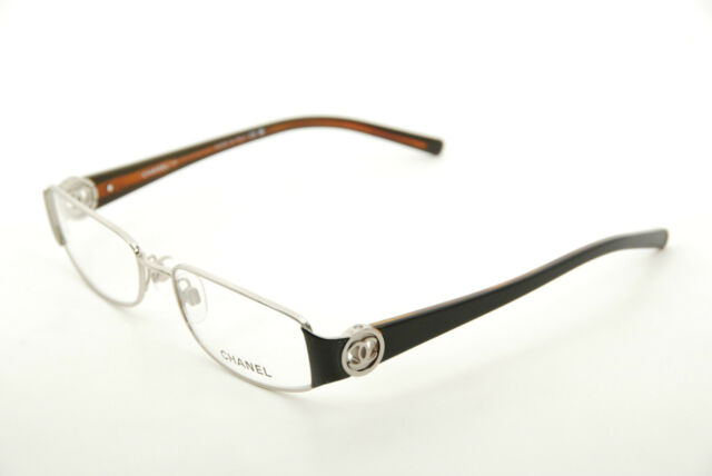 Authentic CHANEL 2105 C.342 Silver/black 53mm Frames Eyeglasses RX ...