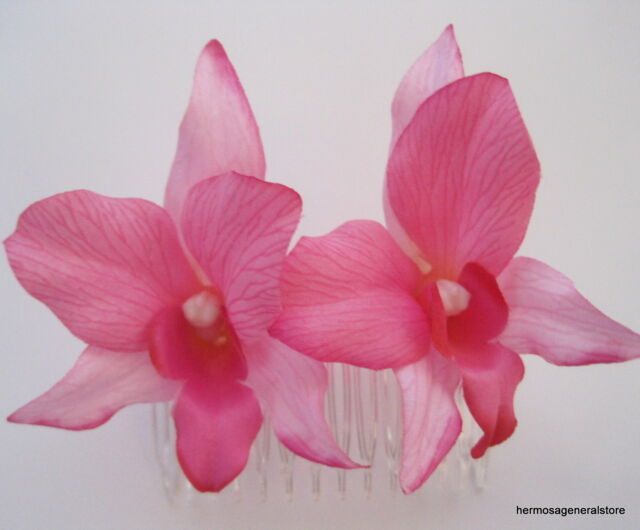 Double Pink Orchid Silk Flowers Hair Comb,Bridal,Luau,Wedding,Prom,Dance