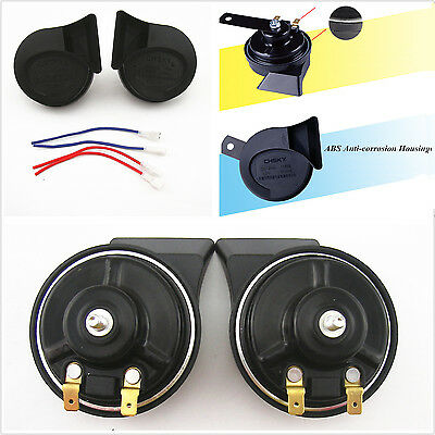 2 Pcs Car Waterproof 12V Dual-Tone 115 db Loud Compact Electric Small Snail Horn