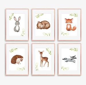 Woodland Letti Per Bambini.Woodland Animali Nursery Art Prints Set Camera Da Letto Per