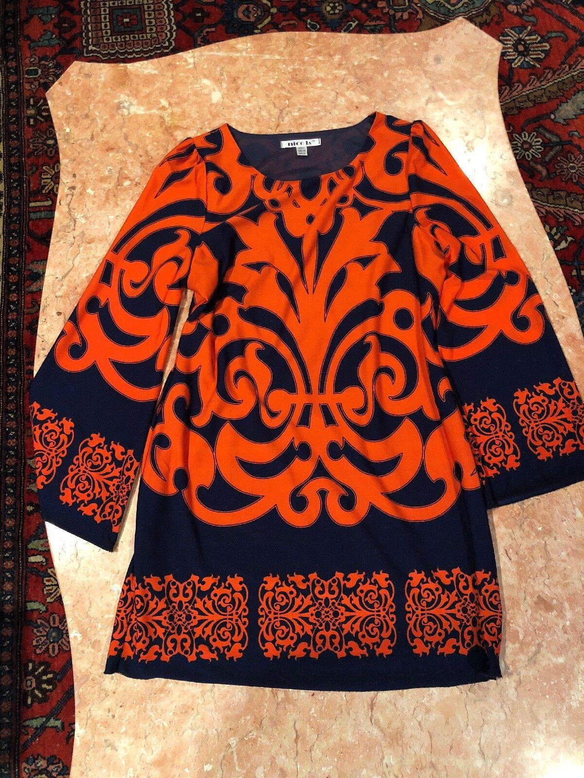 orange And Navy NICO LA LONG SLEEVE DRESS SIZE L